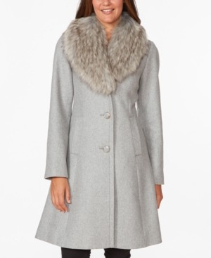 Kate Spade Faux-Fur Collar Skirted Coat