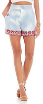 Gianni Bini Darby Flat Front Stripe Embroidered Short