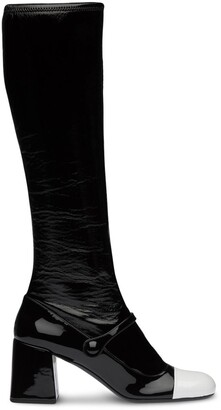 Miu Miu Patent-Leather Block Heel Boots