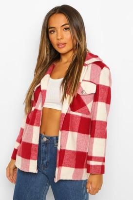boohoo Petite flannel Wool Look Shacket