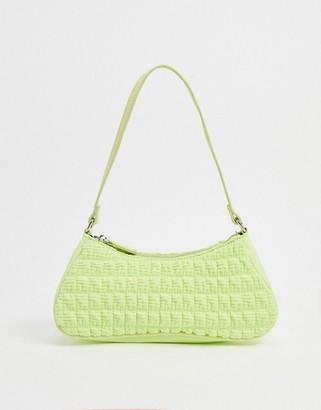 ASOS DESIGN ruched elongated 90s shoulder bag in lime