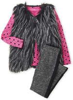Betsey Johnson Toddler Girls) 3-Piece Faux Fur Shaggy Vest & Glitter Leggings Set