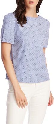 Court & Rowe Flocked Dot Pinstripe Short Sleeve Cotton Blouse
