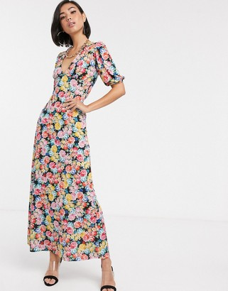 Asos Design DESIGN maxi tea dress with strappy back in floral print-Multi