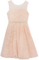 Rare Editions Blush Lace Dress, Big Girls (7-16)