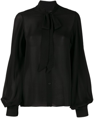 Nili Lotan Pussy-Bow Loose-Fit Blouse