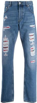 Alexander McQueen Distressed tartan patch jeans