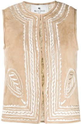 Etro Embroidered Shearling Vest