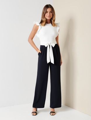 Forever New Leonie Petite Frill-Sleeve Jumpsuit - Porcelain/Navy - 10