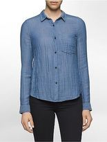 Calvin Klein Womens Oxford Crinkle Cotton Shirt