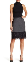 Vince Camuto Lace Hem Tweed Pencil Skirt (Petite)