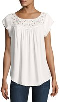 Joie Doma Embroidered-Yoke Top, White