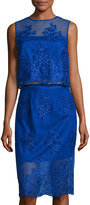 Theia Embroidered Two-Piece Cocktail Dress, Cobalt