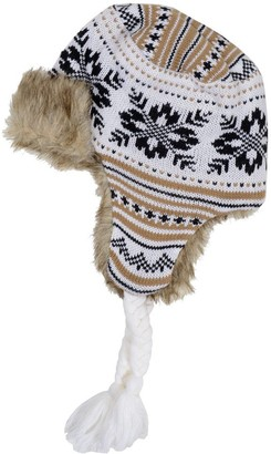 RJM Accessories Ladies Knitted Patterned Trapper Hat with Warm Faux Fur Lining - White & Brown