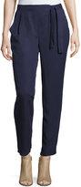 Bobeau Side-Tie Straight-Leg Trousers, Navy