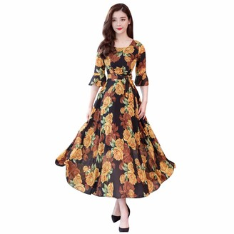 Gofodn Dresses for Women UK Plus Size Evening Party Ladies Elegant Flowers Print Short Sleeve Loose Formal Long Dress Pink