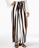 Material Girl Juniors' Striped Wrap-Front Palazzo Pants, Created for Macy's