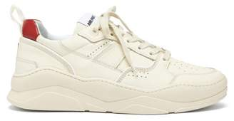 Ami Logo Embroidered Leather Trainers - Mens - Cream Multi