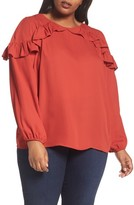 London Times Plus Size Women's Ruffle Cold Shoulder Top