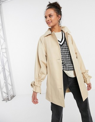 Topshop cropped trench coat in cream