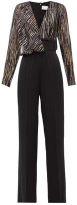 Peter Pilotto Metallic Fil-coupe Silk-blend Jumpsuit - Black