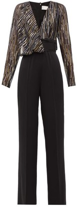 Peter Pilotto Metallic Fil-coupe Silk-blend Jumpsuit - Womens - Black
