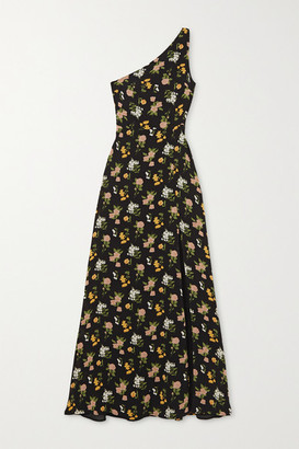 Reformation Net Sustain Evelyn One-shoulder Floral-print Georgette Maxi Dress - Black