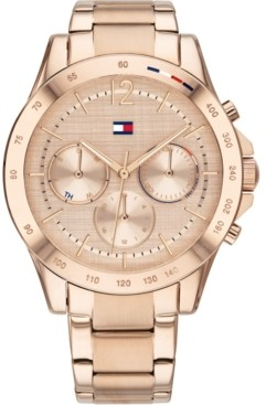 Tommy Hilfiger Women's Chronograph Carnation Gold-Tone Stainless Steel Bracelet Watch 38mm, Created for Macy's