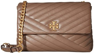 Tory Burch Kira Chevron Flap Shoulder Bag (Classic Taupe) Handbags