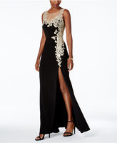 Betsy & Adam Embroidered Illusion Gown