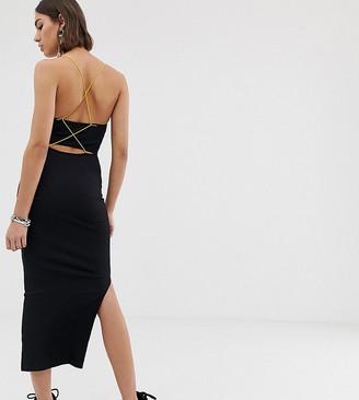 Collusion COLLUSION ribbed cami maxi dress with strappy back-Black