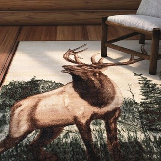 """Ultrasoft Loon Peak Lacour High Quality Woven Ultra-Soft Traditional Southwest Wilderness Elk Theme Berber Area Rug Loon Peak Rug Size: 3' 9"""" X 5' 1"""""""