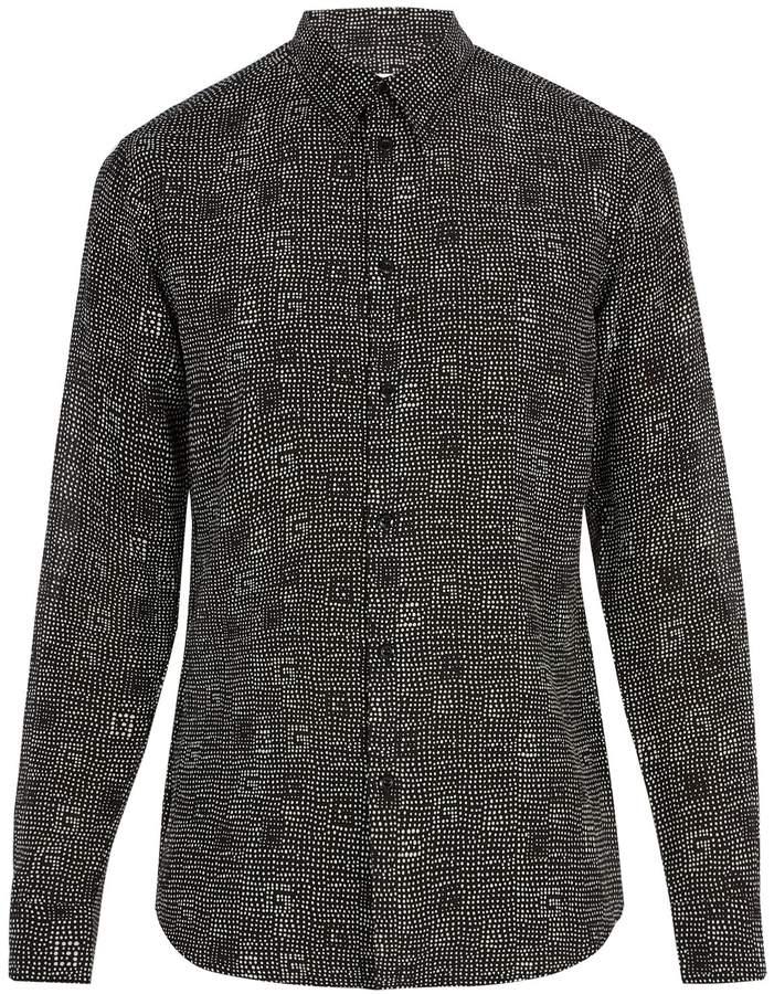 Givenchy Dot-print cotton and silk-blend shirt