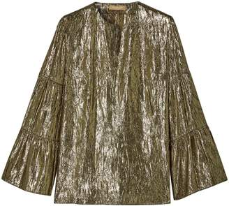 Michael Kors Gathered Crinkled Silk-blend Lame Top