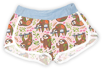 Urban Smalls Girls' Casual Shorts Multi/Lt - Light Pink & Light Blue Happy Floral Sloths Shorts - Toddler & Girls