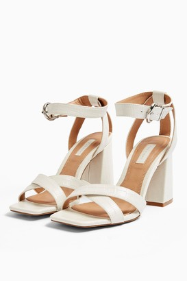 Topshop WIDE FIT SACHA White Ankle Tie Block Heel Sandals