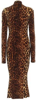 Norma Kamali Leopard-print jersey midi dress
