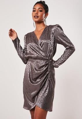 Missguided Petite Purple Animal Print Satin Wrap Dress