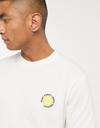 Selected t-shirt with embroidered chest logo in cream