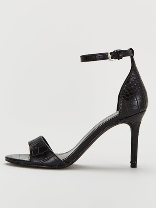 Very Gemini Mid Heel Barely There Sandals - Black