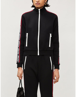 Miu Miu Logo-tape cotton-blend jersey jacket