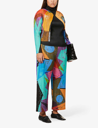 Pleats Please Issey Miyake Swing abstract-print pleated woven cardigan