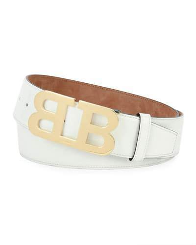 Bally Mirror B Patent Leather Belt, White