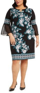 JM Collection Plus Size Printed Chiffon-Cuff Dress, Created for Macy's