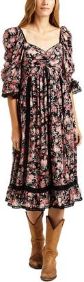 Love Sam Madeline Black Floral Mid Dress