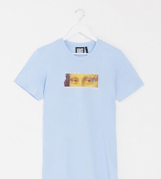 Reclaimed Vintage inspired oversized t-shirt with Mona Lisa art print in baby blue