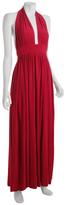 red jersey long halter dress