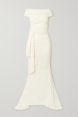 Talbot Runhof Bouvier Gathered Draped Crepe Gown - Ivory