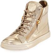 Giuseppe Zanotti London Metallic High-Top Sneaker, Mirror Platino