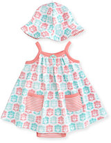 Offspring Sleeveless Cotton Floral Play Dress w/ Hat, Gray, Size 3-9 Months